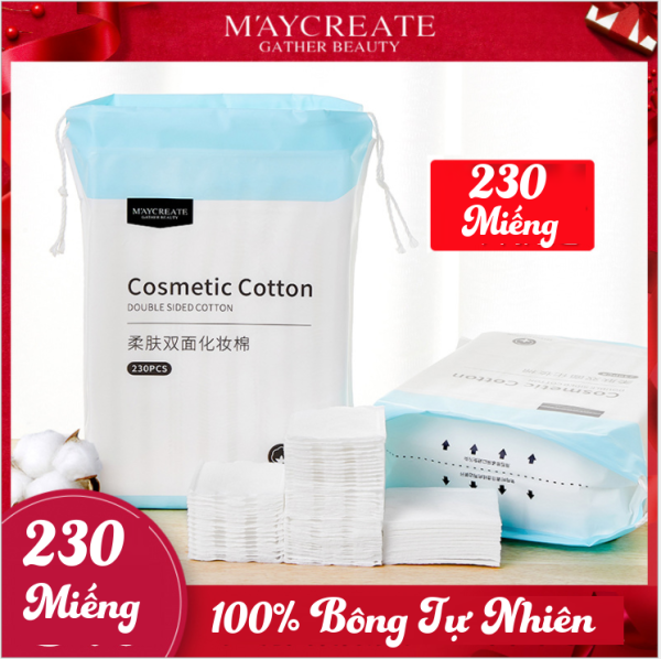 [HCM]Bông tẩy trang 230 miếng/150 miếng Maycreate - 100% Bông tự nhiên an toàn cho da giúp thấm hút nhanh chóng tẩy sạch bụi bẩn nhập khẩu