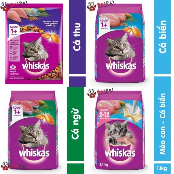 Thức Ăn Hạt Khô Cho Mèo Lớn Mèo Con Vị Cá Biển Cá Ngừ Cá Thu Và Sữa Whiskas