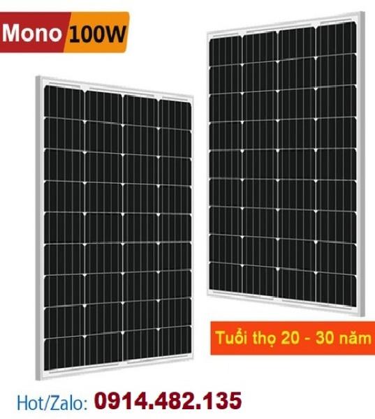 Tấm Pin Năng Lượng Mặt Trời Mono 100W Hiệu suất cao loại A TỐT