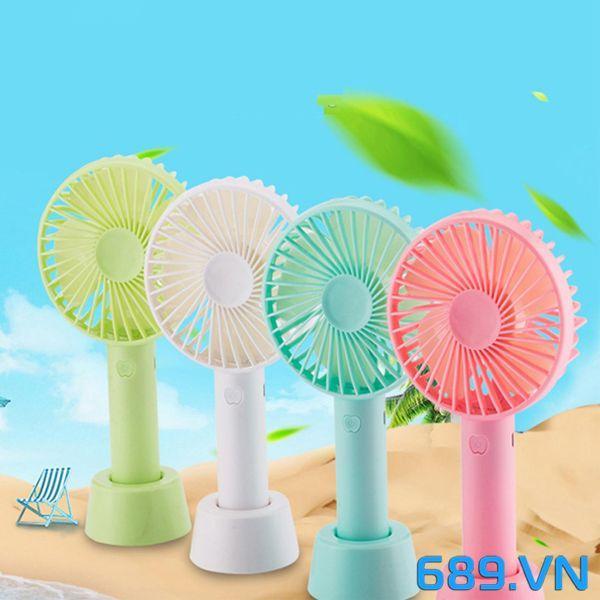 Quạt Mini Fan Có Pin Sạc Cầm Tay Tuỳ Chỉnh 3 Cấp Độ Siêu Mát Hàn Quốc (Nhiều Màu có đế tặng kèm)
