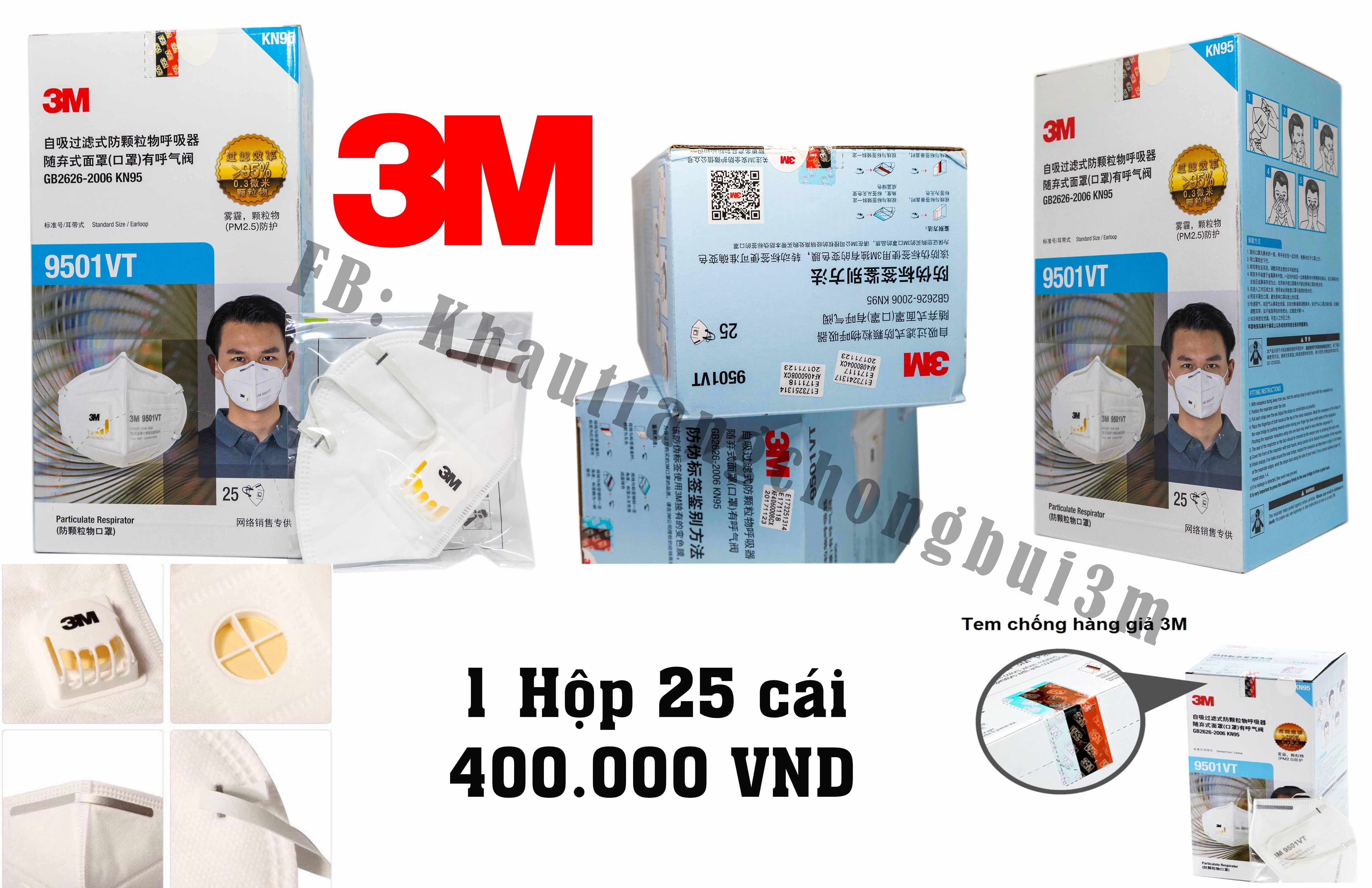 Khẩu Trang Chống Bụi 3M - 9501 VT   1 Hộp 25 cái
