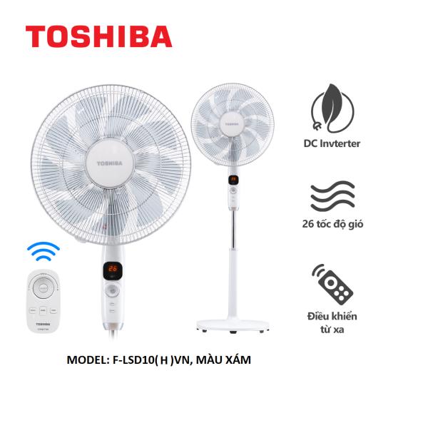 Quạt Đứng Toshiba F-LSD10(H)VN - Công Nghệ DC Inverter, Màu Xám - Có Điều Khiển - Hàng Chính Hãng