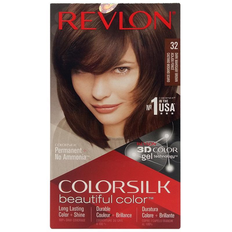 Thuốc nhuộm tóc Revlon No 1 in the USA ColorSilk 3D # 32 Nâu Gỗ Sậm + 01 nón trùm tóc tốt nhất