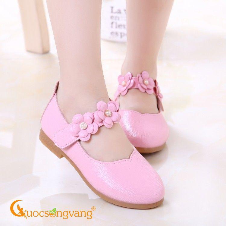 Giá bán Giày búp bê bé gái giày bé gái quai hoa GLG018 hồng phấn