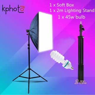 Hàng Có Sẵn Bộ 2 Hộp Đèn E27 Studio Chụp Ảnh Chuyên Nghiệp 50X70Cm 2 Cái Softbox + 2 Giá Đỡ Chiếu Sáng 2M Có Thể Điều Chỉnh ( Không Có Bóng Đèn ) thumbnail