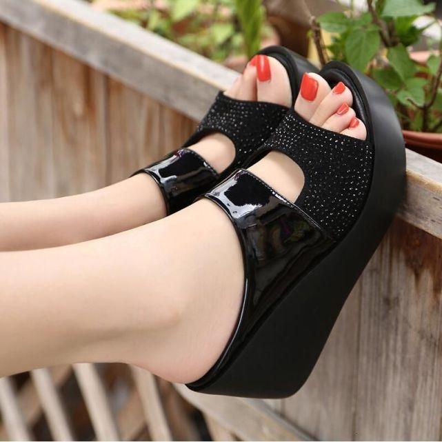 Hàng Mới 2019 Phụ Nữ Dép Nữ Thời Trang Mùa Hè Giải Trí Cá Miệng Giày Sandal Đáy Dày Dép Giày Đế Xuồng Nữ F90084 Bán giỏi nhấtjkjk giá rẻ