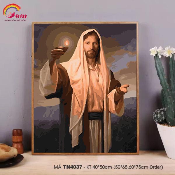 Tranh treo tường tự tô màu theo số sơn dầu số hóa Gam Công giáo Ánh sáng Chúa Giêsu TN4037