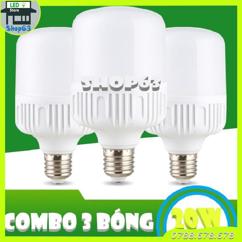 Combo 3 bóng đèn 20W trụ tròn ánh sáng trắng (bảo hành 12 tháng)