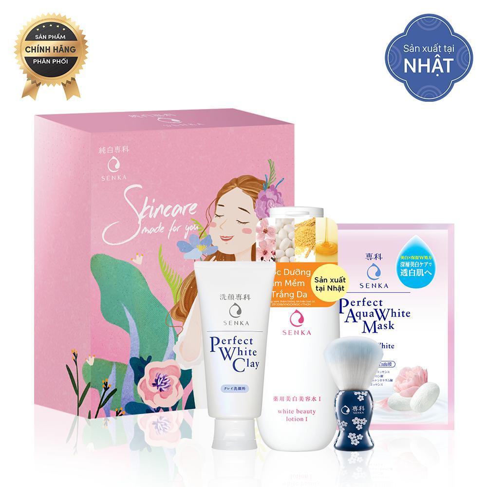 Bộ sản phẩm dưỡng trắng và làm mềm da Senka (Senka Perfect White Clay 120g+Senka Perfect Aqua White Mask – Extra White 25ml+ Senka White Beauty Lotion I 200ml+ Cọ tạo bọt Senka) kèm hộp Senka Pink Box tốt nhất