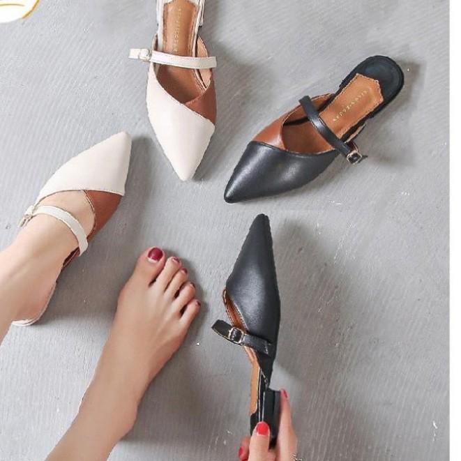 A1 - Giày nữ, sục mũi nhọn phối màu, quai ngang giá rẻ