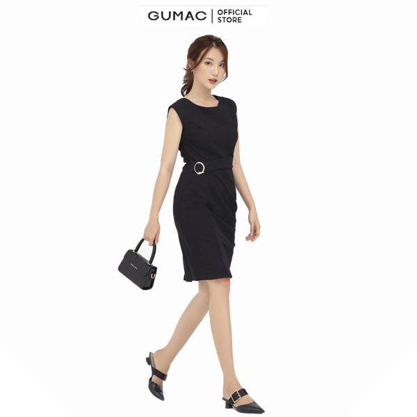 Nơi bán Đầm nữ sát nách phụ kiện GUMAC mẫu mới DB580 chất liệu thun 2 da form body style thanh lịch