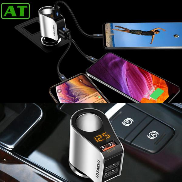Tẩu Sạc Ô Tô Xe Hơi Hyundai 4 Cổng Ra Bao Gồm 1 Cổng Tẩu Tròn Và 3 Cổng USB Có Đèn Led Báo Điện Áp Ác Quy