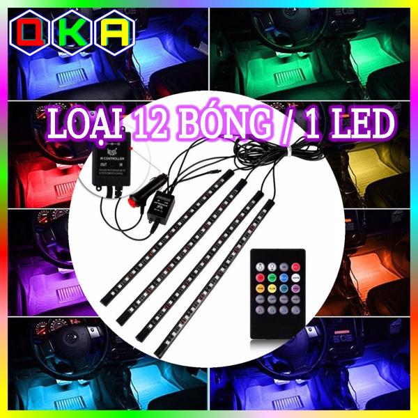 【QKA】Đèn Led chiếu sàn gầm ghế trang trí xe ô tô xe hơi 8 màu điều khiển từ xa bằng Remote mỗi Led dài 22cm