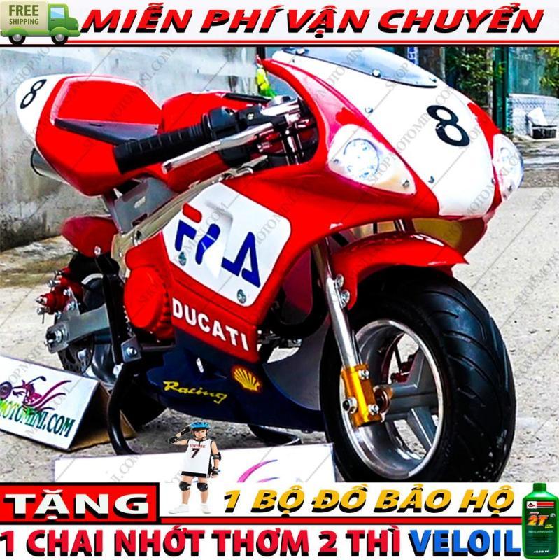 Phân phối Xe moto mini ruồi 50cc ( có 2 đèn led + 2 ống pô uy lực ) | Mô tô cào cào 2 thì gắn máy cắt cỏ chạy xăng pha nhớt