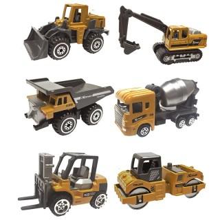 Xe công trình xây dựng bằng kim loại gồm 6 xe chi tiết sắc sảo, an toàn cho bé, dùng làm đồ chơi trẻ em hoặc trang trí thumbnail