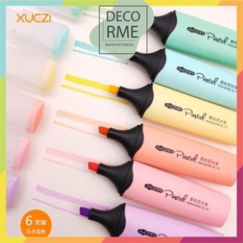 Mua [Lấy mã giảm thêm 30%]Set 6 bút highlight lớn pastel bc727 decorme sản phẩm đều giống như  hình chất liệu siêu đẹp siêu bền