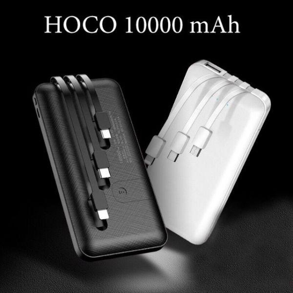 Sạc dự phòng 10000mah có Led báo Pin Sạc dự phòng được tích hợp sẵn 3 dây cáp output với cổng Lightning dành cho iPhone, cổng Type-C dành cho thiết bị Android và cổng Micro và input cổng USB Hoco Bảo hành 6 tháng
