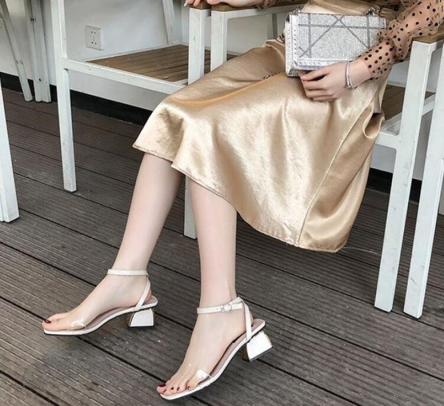 Dép sandal nữ quai ngang gót vuông 5 phân mạ kim loại giá rẻ