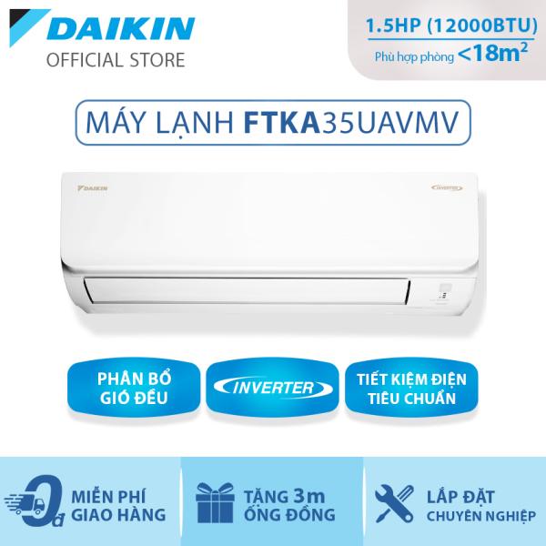 Bảng giá Máy Lạnh Daikin Inverter FTKA35UAVMV 1.5HP [Giảm 10% khi thanh toán qua thẻ] (12000BTU) - Tiết kiệm điện - Luồng gió Coanda - Độ bền cao - Chống Ăn mòn - Chống ẩm mốc - Làm lạnh nhanh - Hàng chính hãng
