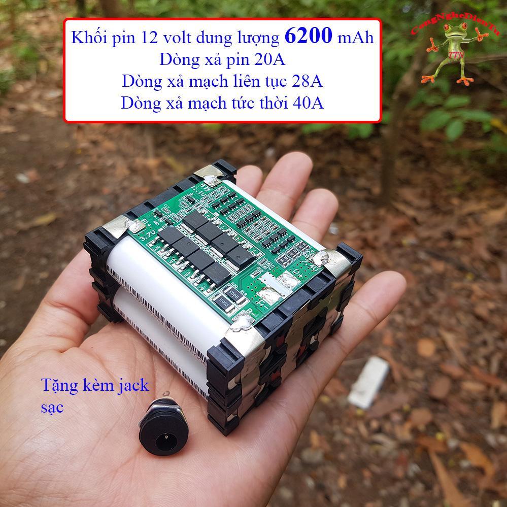 Khối pin 6 cell 12v 6200mAh EVE TRẮNG tặng kèm jack sạc