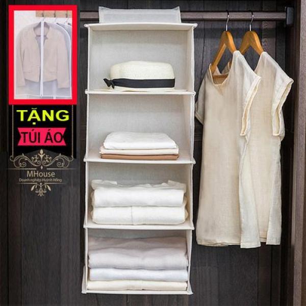 Tủ vải treo 5 ngăn (xám). Tặng túi áo có dây kéo size lớn