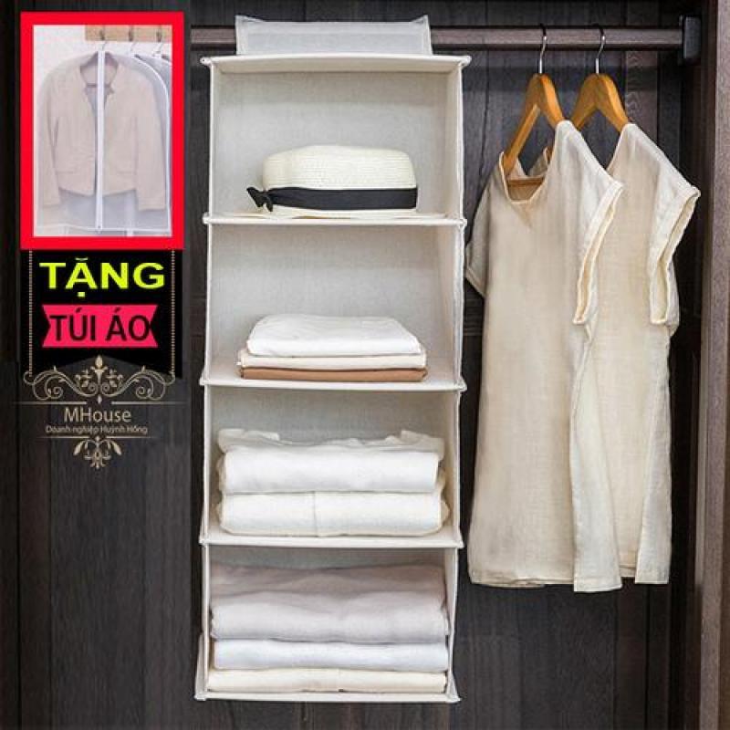 Tủ vải treo 5 ngăn (xám). Tặng túi áo có dây kéo size lớn bán chạy