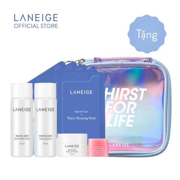 [Quà tặng không bán] Combo dưỡng ẩm và dưỡng trắng toàn diện Laneige kèm túi trang điểm giá rẻ