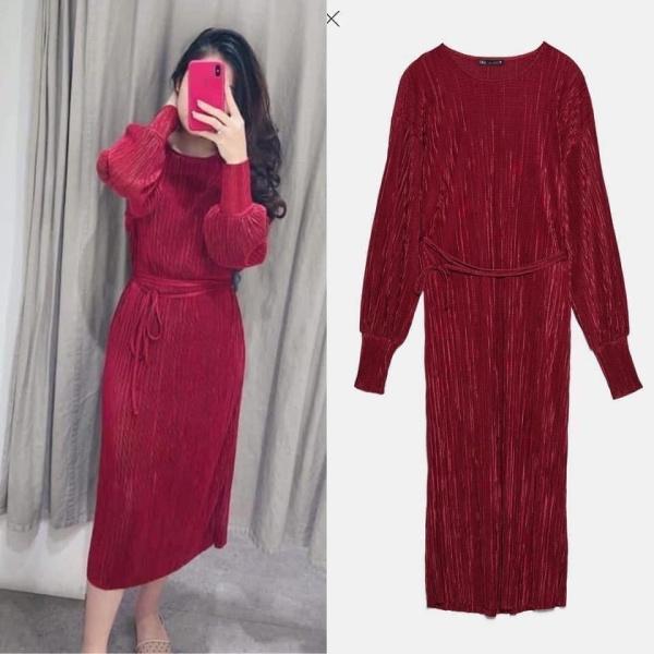 Váy dáng dài suông đỏ Zara 2019