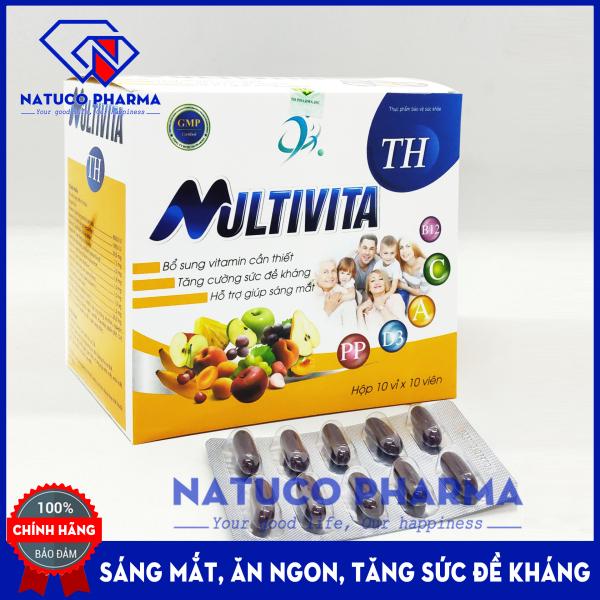 Viên uống vitamin tổng hợp Multivita - giúp ăn ngon miệng, tăng cường thị lực tăng sức đề kháng - Bổ sung Vitamin A, D3, C, B, và khoáng chất- Hộp 100 viên chuẩn GMP