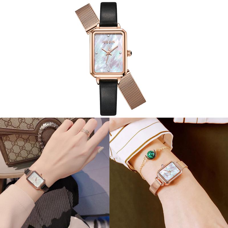[Mua 1 tặng 1] đồng hồ nữ Julius Hàn Quốc JA-1280A dây da - tặng kèm dây thép (Trắng)
