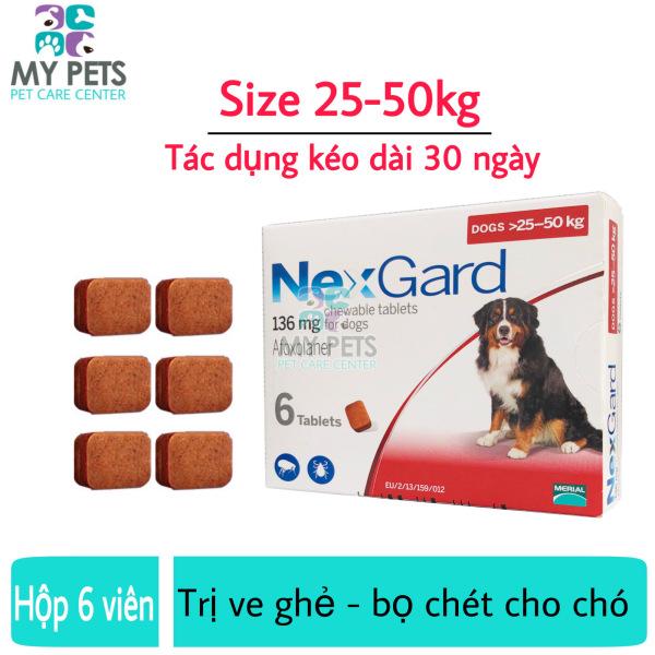 NEXGARD viên nhai ve ghẻ, bọ chét cho chó - 1 hộp 6 viên (Size 25-50kg. full box)