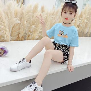 Set áo phông mix quần hoa cúc nhí xinh xắn, phong cách Hàn Quốc dành cho bé gái từ 16-45kg. Hàng may kỹ, đủ màu, đủ size. thumbnail