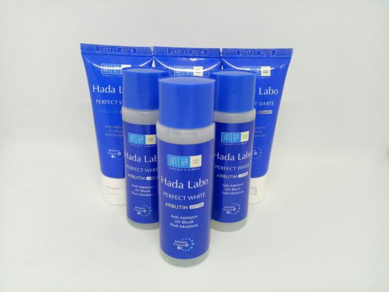 Trọn bộ 6 món dưỡng trắng da gồm : 3 chai Dung dịch Hada Labo Perfect White Lotion + Tặng 3 tuýt sữa rửa mặt Hada Labo PERFECT WHITE & kèm thêm 1 túi đựng mỹ phẩm nhập khẩu