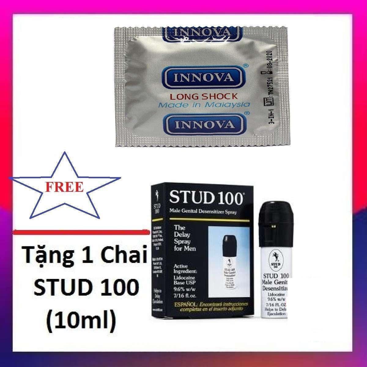 Combo 1 chiếc bao cao su INNOVA kéo dài thời gian tặng 1 chai xịt kéo dài STUD_ 100 nhập khẩu