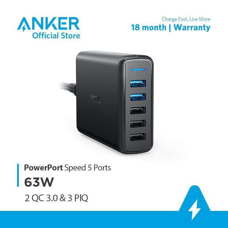 Sạc ANKER PowerPort Speed 5 cổng với 2 cổng Quick Charge 3.0 và 3 cổng PowerIQ 63W - A2054