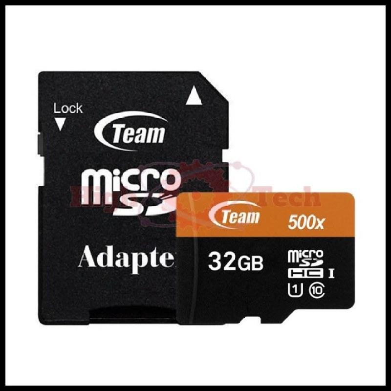 Thẻ nhớ microSDHC Team 32GB 500x upto 80MB-s class 10 U1 kèm Adapter (Cam)+đầu đọc thẻ