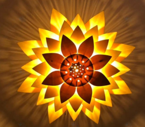 Bảng giá Đèn gỗ hoa sen DIY