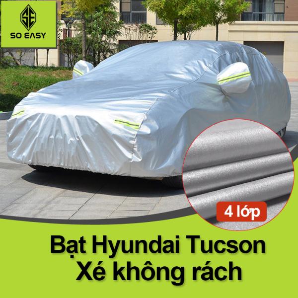 [ HYUNDAI TUCSON ] Bạt Phủ xe ô tô Hyunhdai tucson, Bạt phủ xe hơi - áo trùm che phủ xe hơi nhôm bạc 4 chỗ đến 7 chỗ, 2 lớp chống nóng mưa xước sơn vân 4D (BPX) - Xám