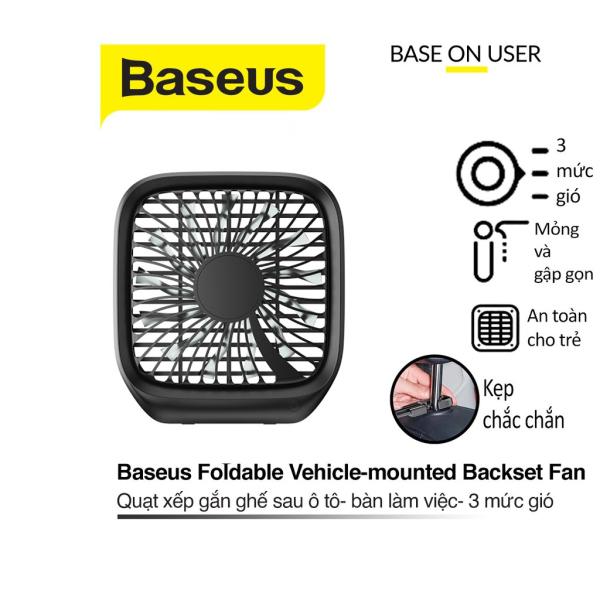 Quạt xếp đa năng Baseus Foldable Vehicle-mounted Backseat Fan điều chỉnh mức độ gió gắn lưng ghế xe hơi và bàn làm việc