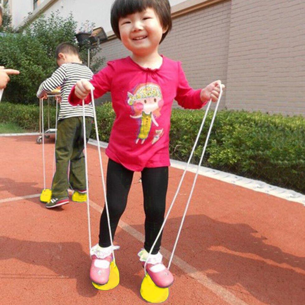 Hình ảnh GOFT Children Kids Outdoor Fun Walk Stilt Jump Smile Face Balance Training Toy Yellow