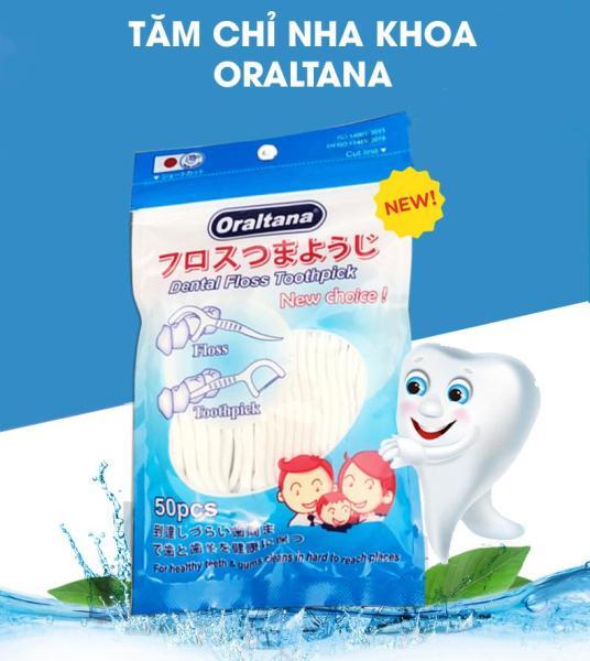 Set 3 Túi Tăm Chỉ Nha Khoa Oraltana (50 chiếc/1 túi) thơm giúp răng miệng An toàn cho sức khỏe giá rẻ