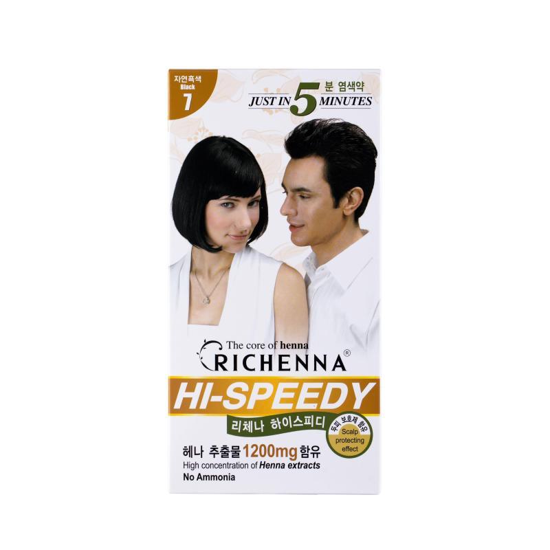 Thuốc nhuộm phủ bạc Richenna Hàn Quốc màu đen tự nhiên cao cấp