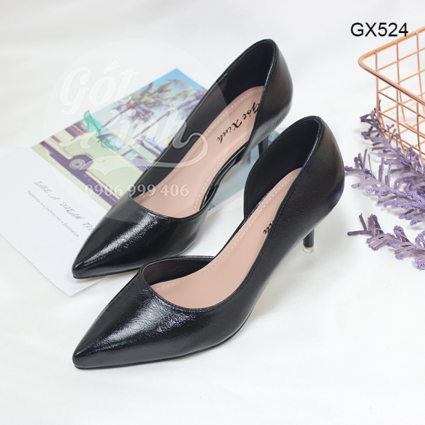 Giày cao gót 5 phân mũi nhọn khoét eo 1 bên - Có size lớn 40 trở lên giá rẻ