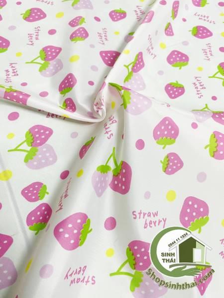 [HCM]Vải lót hình trái dâu vải may lót ba lô túi xách [ 1 mét x khổ 17 mét ]