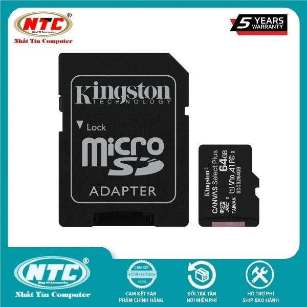 [HCM]Thẻ nhớ MicroSDXC Kingston Canvas Select Plus 64GB U1 V10 A1 100MB/s (Đen) - Kèm Adapter - Nhất Tín Computer