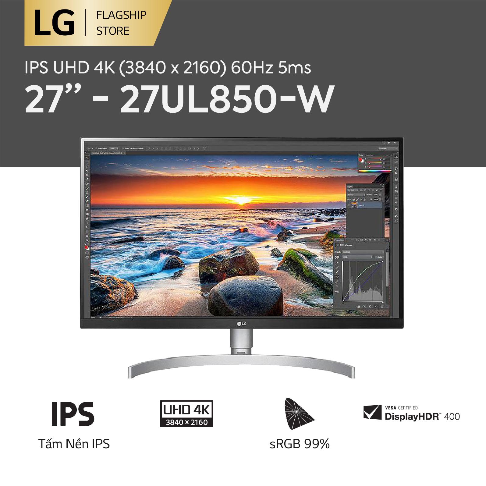 [TRẢ GÓP 0%] Màn hình máy tính LG IPS UHD 4K (3840 x 2160) 60Hz 5ms 27 inches l 27UL850-W l HÀNG CHÍNH HÃNG