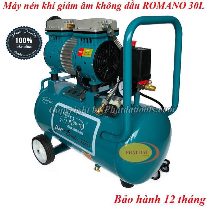 Máy nén khí sạch ROMANO 30L giảm âm không dầu 800W-BH 12 tháng-Tặng kèm dây xoắn hơi+xì khô
