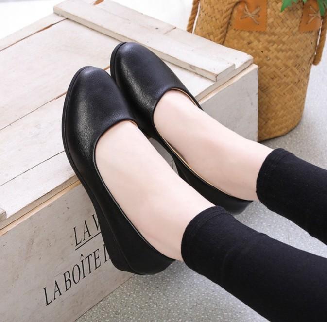 Giày da đế xuồng kiểu đơn giản đế độn 5f giá rẻ