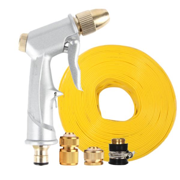 Vòi nước vòi phun nước rửa xe tưới cây tăng áp thông minh + bộ dây bơm nước 20m cao cấp TLG 701621-1 đầu đồng, cút đồng(vàng dẹt)
