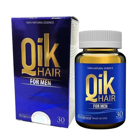 Viên Bổ Tóc Cho Nam QIK Hair For Men - Nguyên Tem Cào Chính Hãng (Chai 30 viên) cao cấp